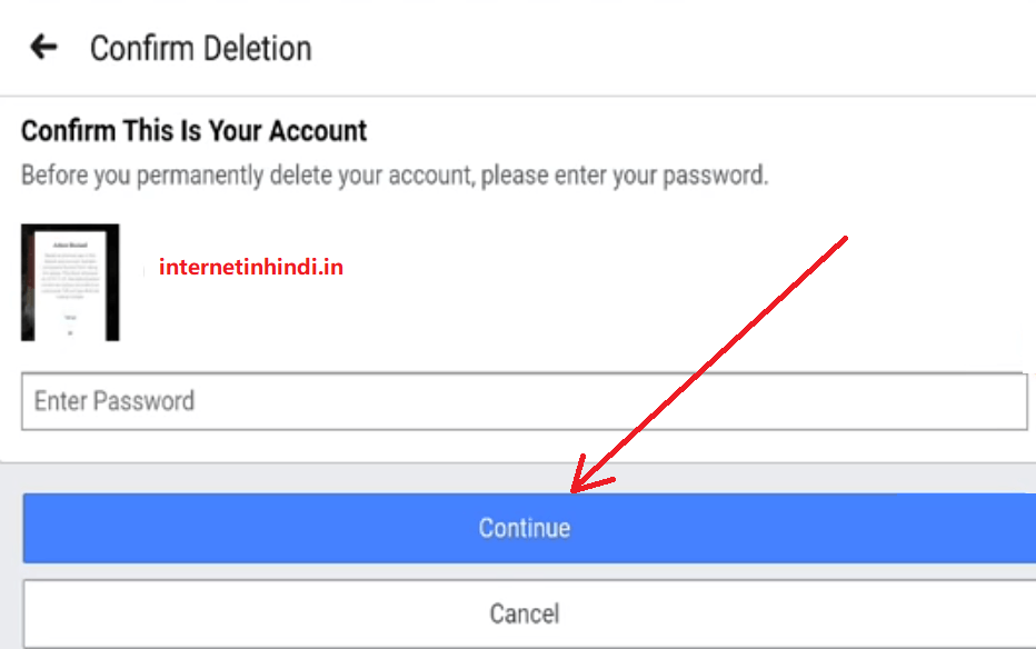 Confirm facebook password